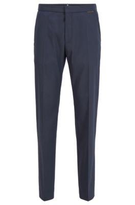 Pantalones tobilleros slim fit de tejido elástico, Azul oscuro