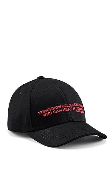 男士系列主题图案棉质斜纹帽,  001_黑色