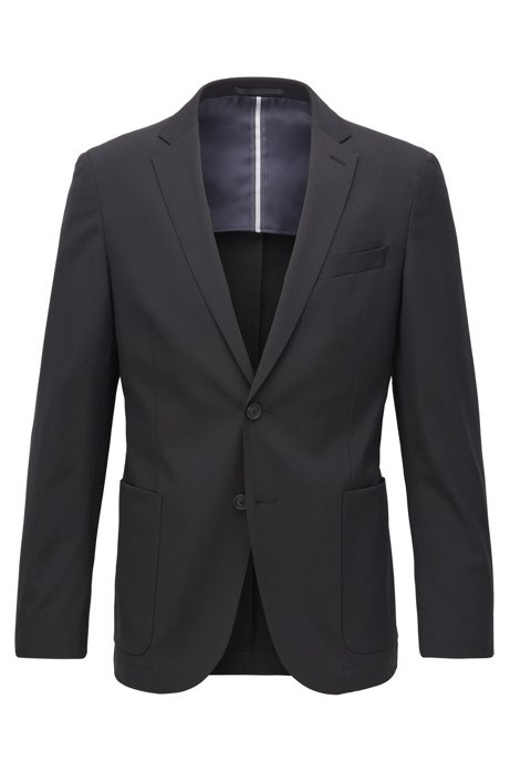 Slim-fit jacket in stretch fabric, Black