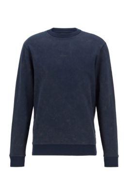 Sweater van sweatstof met acid-wash-effect, Donkerblauw