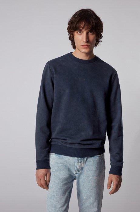 Sweatshirt aus French Terry mit Acid-Waschung , Dunkelblau