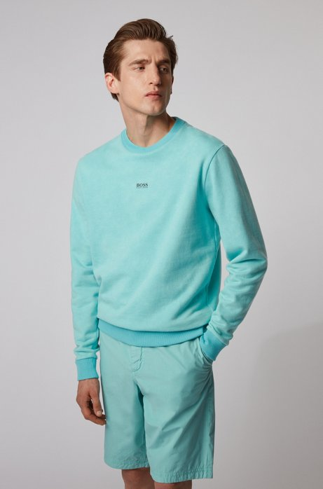 French-terry sweatshirt with acid-wash effect, Turquoise
