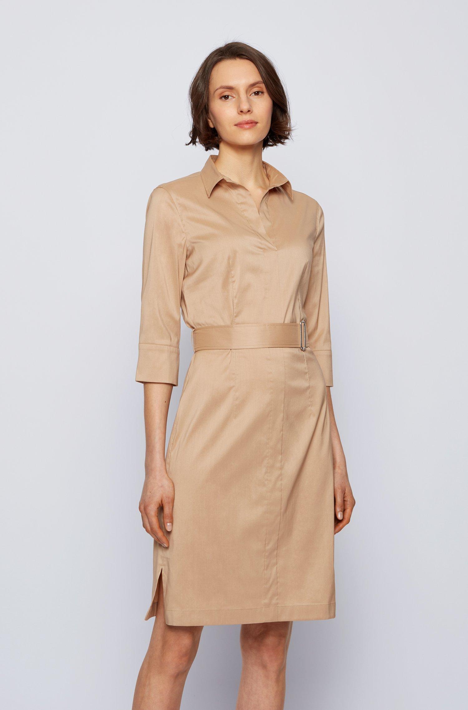 Hemdblusenkleid aus Stretch-Popeline im Trenchcoat-Stil, Beige