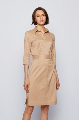 Trench-inspired shirt dress in a stretch-cotton blend, Beige
