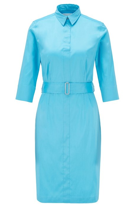 Robe-chemise d'inspiration trench en coton stretch mélangé, Bleu