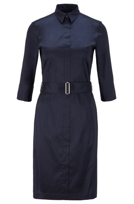 Hemdblusenkleid aus Stretch-Popeline im Trenchcoat-Stil, Blau
