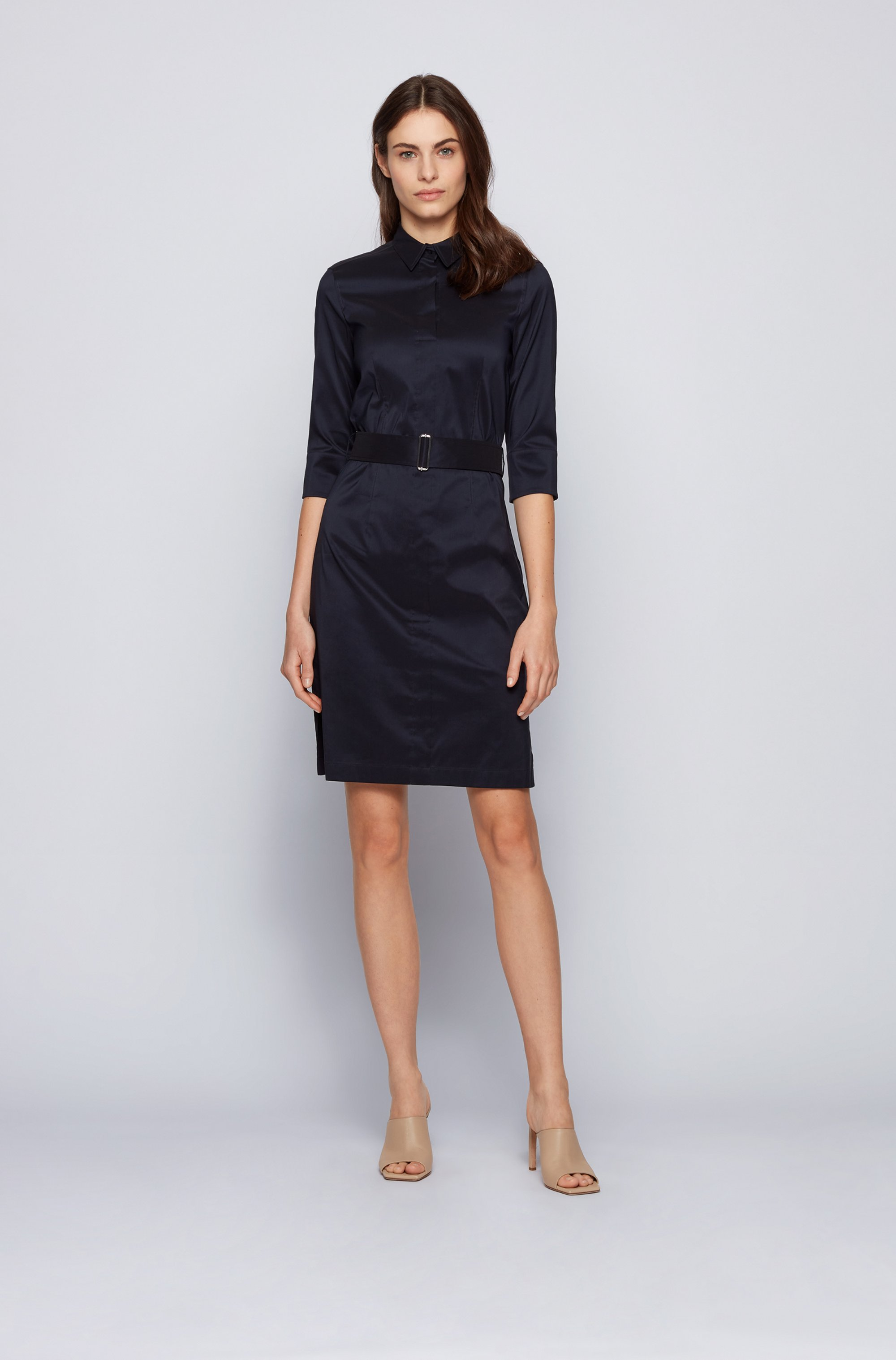 Trench-inspired shirt dress in a stretch-cotton blend