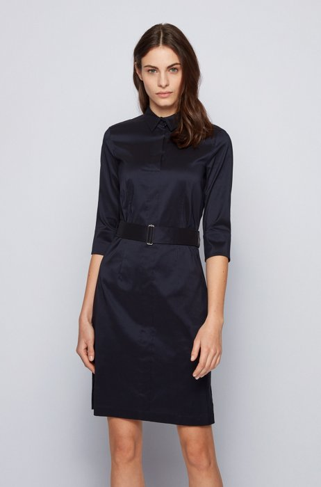 Trench-inspired shirt dress in a stretch-cotton blend, Blue