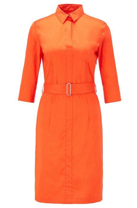 Robe-chemise d'inspiration trench en coton stretch mélangé, Orange