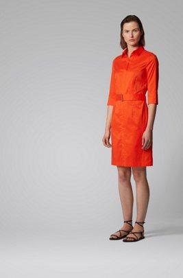 Hemdblusenkleid aus Stretch-Popeline im Trenchcoat-Stil, Orange