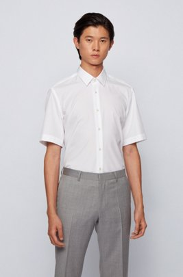 Regular-fit shirt in easy-iron cotton, White
