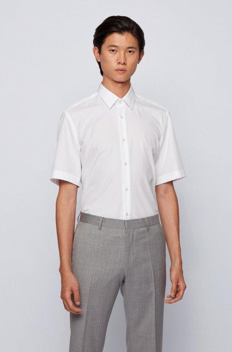 Regular-fit overhemd van gemakkelijk te strijken katoen, Wit