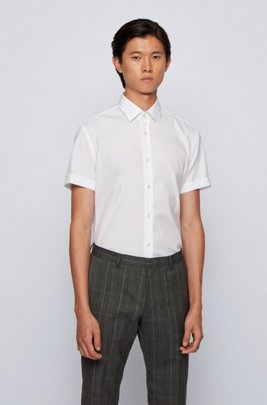 Camicia slim fit in cotone facile da stirare, Bianco