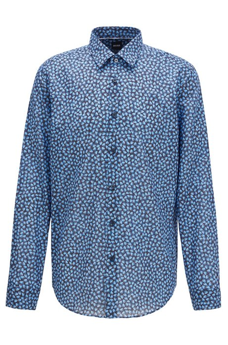 Regular-fit shirt in leaf-print Italian cotton muslin, Blue