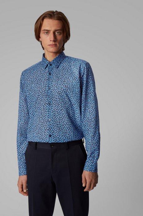 Camicia regular fit in mussola di cotone italiana con stampa con foglie, Blu