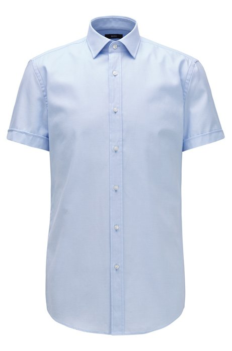 Slim-fit shirt with pleated placket and Kent collar, Light Blue