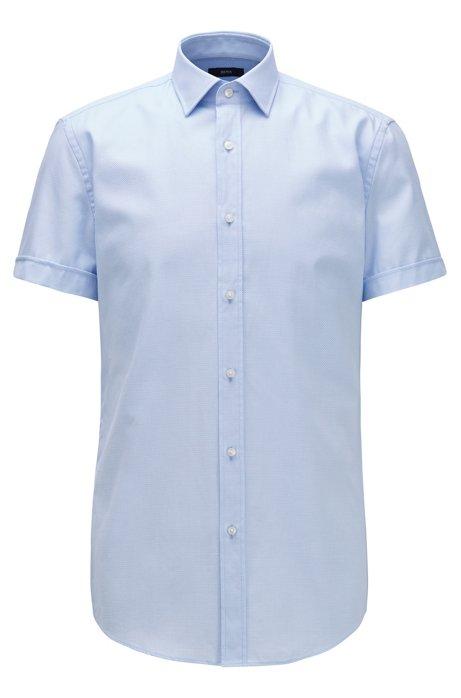 Camicia slim fit con chiusura a cannoncino e colletto stile Kent, Celeste