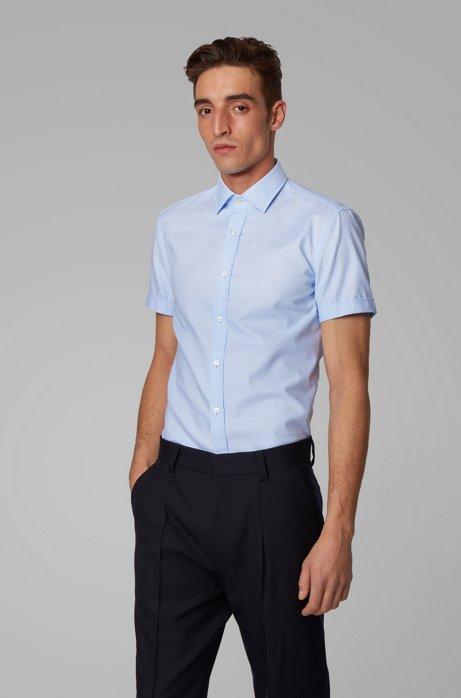 Chemise Slim Fit à col Kent et patte de boutonnage plissée, Bleu vif