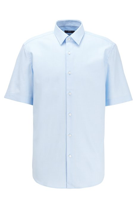 Regular-fit shirt in structured cotton with short sleeves, Light Blue