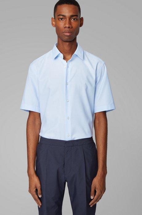 Regular-Fit Kurzarm-Hemd aus strukturierter Baumwolle, Hellblau