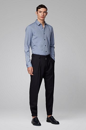 男士竹纤维牛津棉修身衬衫,  402_暗蓝色