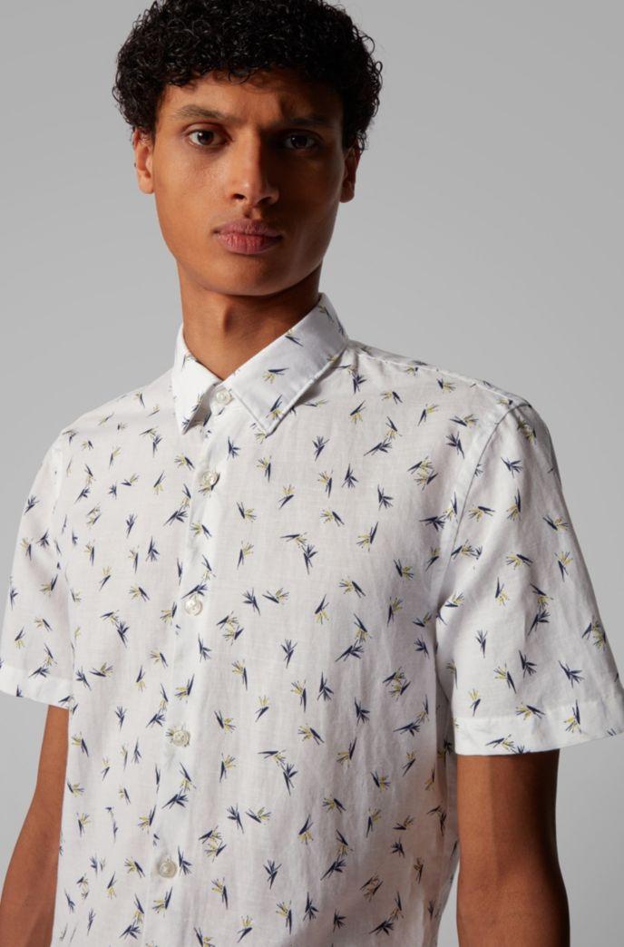 Overhemd van linnen met katoen met bloemenprint