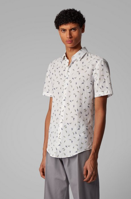 Floral-print shirt in linen with cotton, Yellow