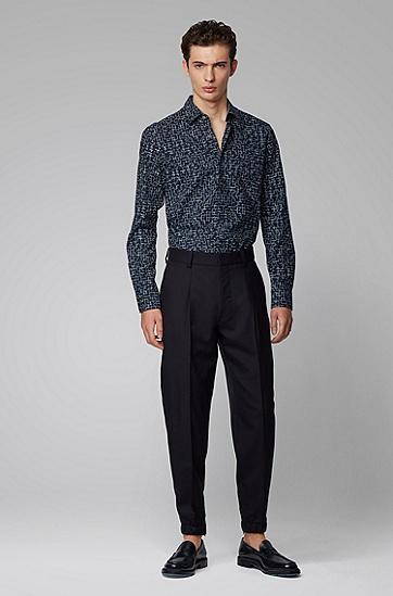 男士修身版几何图案棉混纺衬衫,  402_暗蓝色