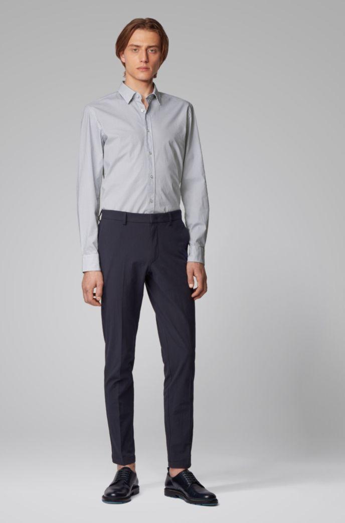 Slim-fit shirt in monogram-print stretch-cotton poplin