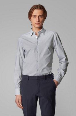Slim-fit shirt in monogram-print stretch-cotton poplin, Blue