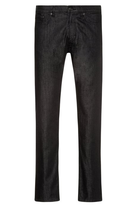 Regular-fit jeans in rinse-washed black stretch denim, Black