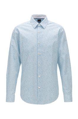 Chemise Regular Fit en coton stretch à imprimé exclusif, Bleu vif