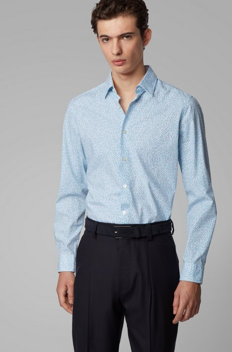Chemise Regular Fit en coton stretch à imprimé exclusif, Bleu vif