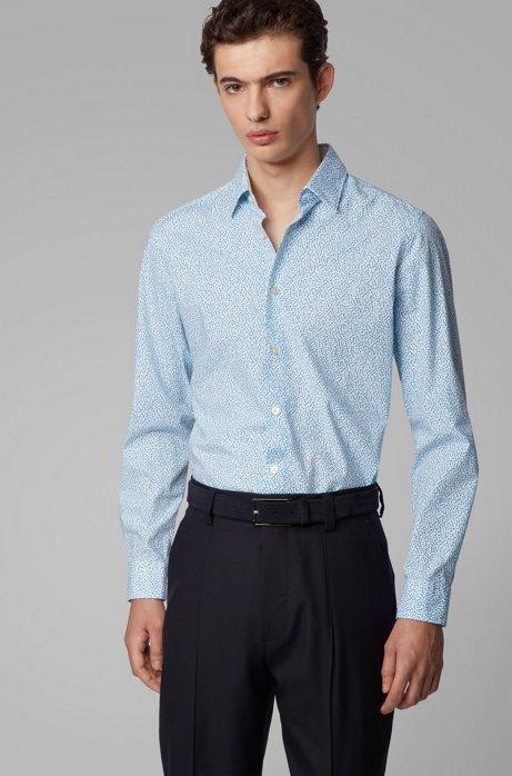 Regular-Fit Hemd aus Stretch-Baumwolle mit exklusivem Print, Hellblau