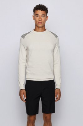 Knitted cotton sweater with contrast detailing, Beige