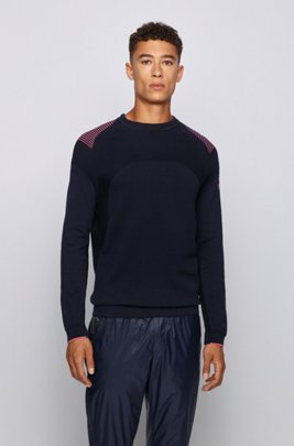 Knitted cotton sweater with contrast detailing, Dark Blue