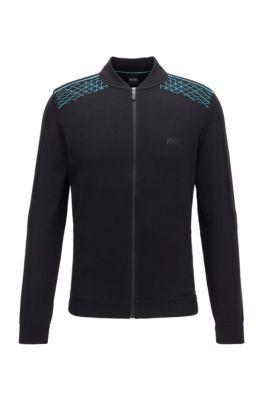 Strick-Cardigan mit Reißverschluss und Grafik-Muster, Schwarz