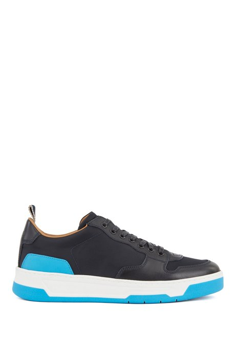 Low-top trainers with coordinating heel and sole, Dark Blue