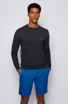 Crew-neck sweater in organic cotton with contrast piping, Black