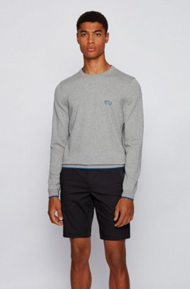 Crew-neck sweater in organic cotton with contrast piping, Light Grey