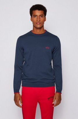 Crew-neck sweater in organic cotton with contrast piping, Dark Blue