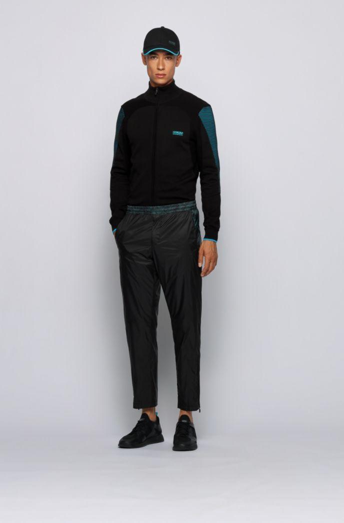 Strick-Cardigan aus Baumwolle mit Reißverschluss und kontrastfarbenen Details