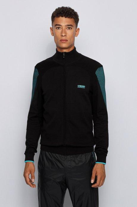 Strick-Cardigan aus Baumwolle mit Reißverschluss und kontrastfarbenen Details, Schwarz