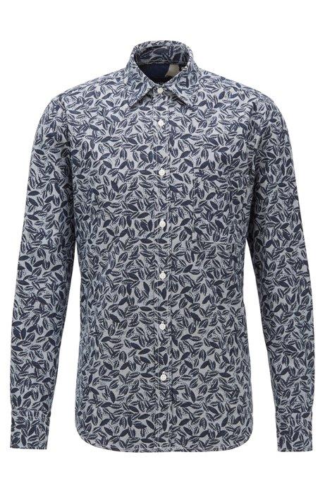Regular-fit overhemd met print van katoen met linnen en kapok, Donkerblauw
