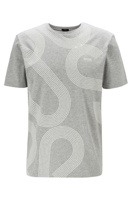 T-Shirt aus Stretch-Baumwolle mit lichtreaktivem Logo-Print, Hellgrau