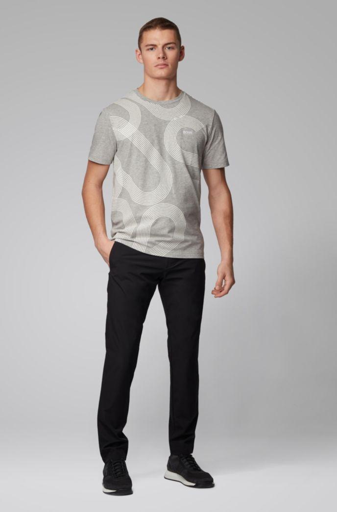 T-shirt in cotone elasticizzato con logo stampato con tecnologia UV-reattiva