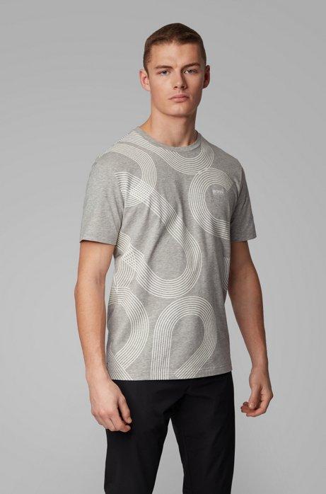 Stretch-cotton T-shirt with UV-reactive logo print, Light Grey