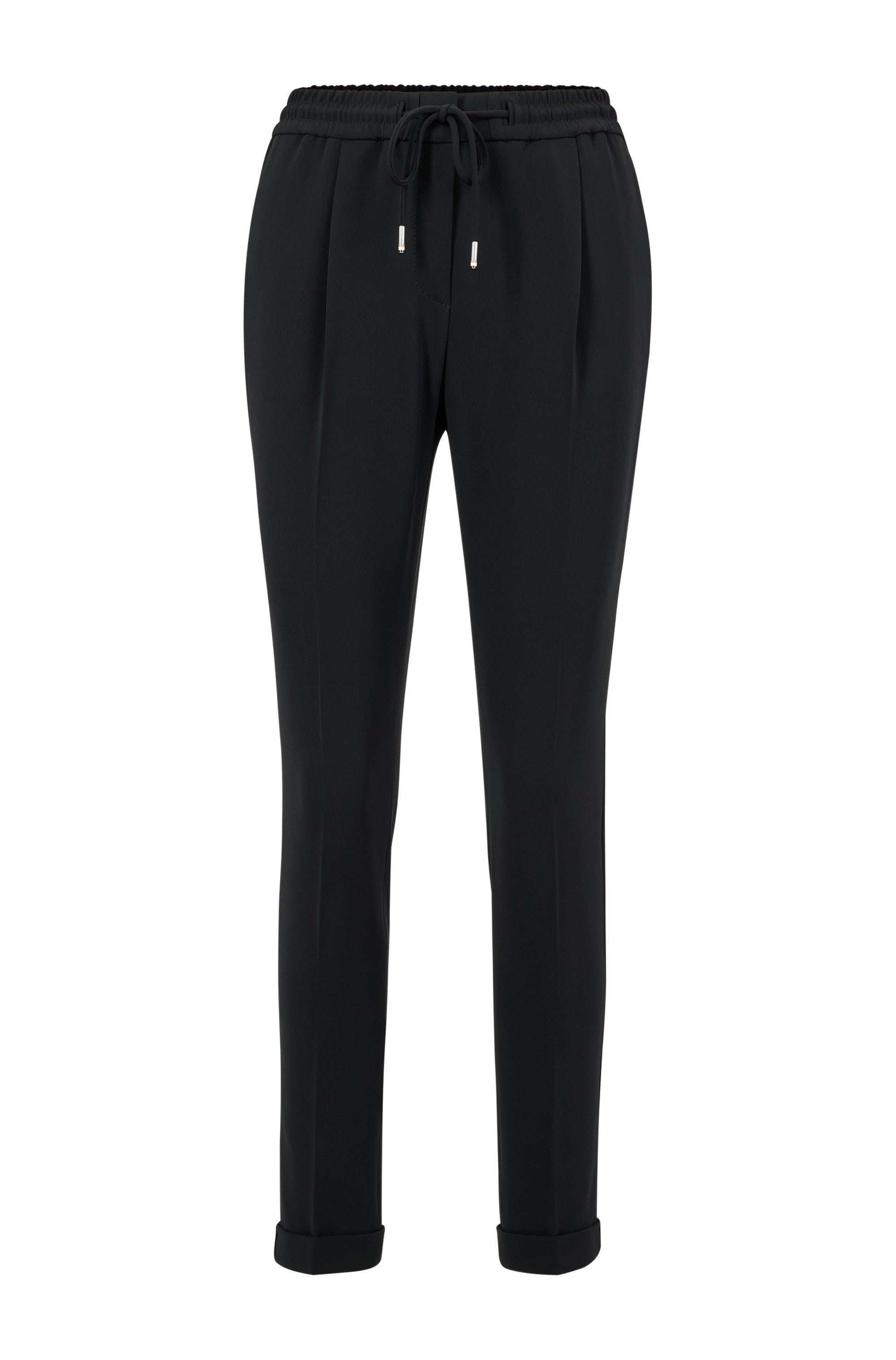 Pantalon Regular Fit en crêpe japonais avec taille à cordon de serrage, Noir