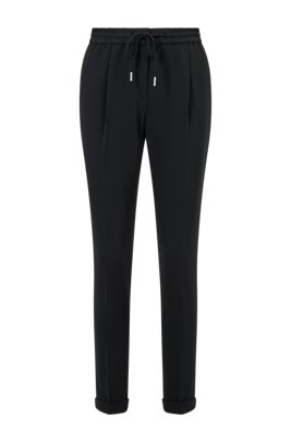 Pantalon Relaxed Fit court en crêpe stretch, Noir
