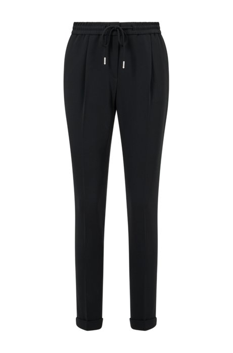 Relaxed-Fit Hose aus Stretch-Krepp in Cropped-Länge, Schwarz